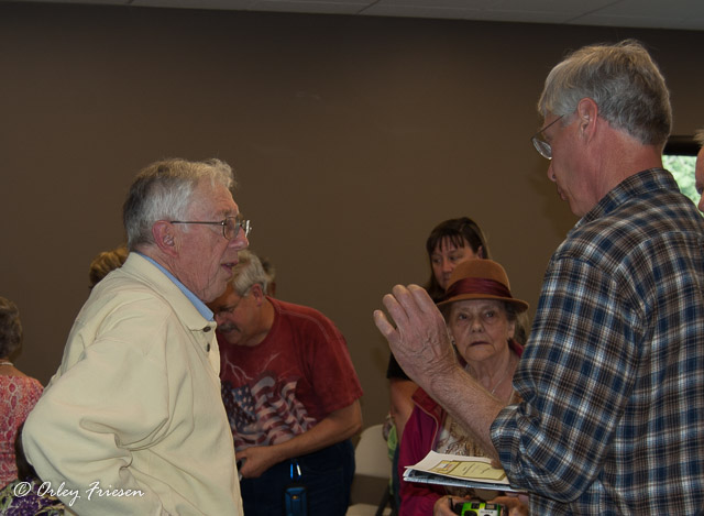 John Baker and audience participants discuss the history of Camp Adair.