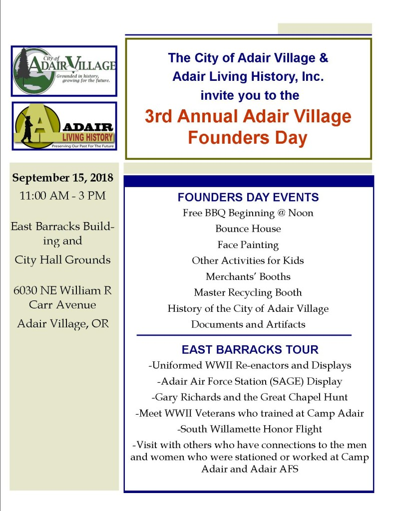 Adair Founders Day Flyer 2018